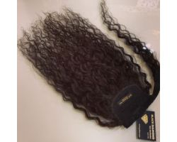 Tail with natural curly virgin color velcro