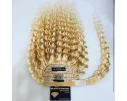 Platinum blonde natural curly velcro tail