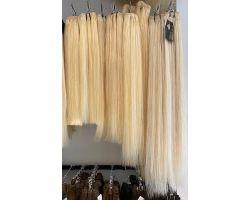 Smooth platinum blonde hair