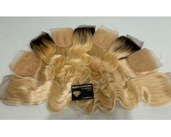 Blond closure with dark base